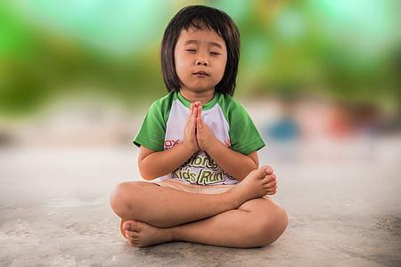 小さな女の子, 祈って, 人, 希望, 祈る, 宗教的です, 希望