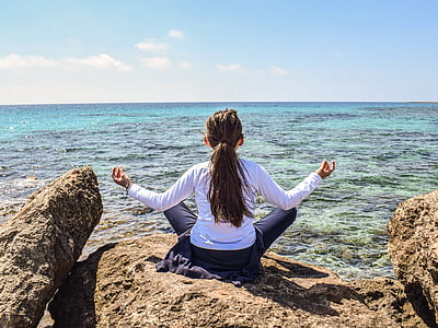 girl, sea, horizon, meditation, nature, relax, leisure