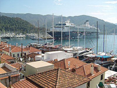kryssning, kryssningsfartyg, Holiday, Grekland, Medelhavet, tak, från ovan