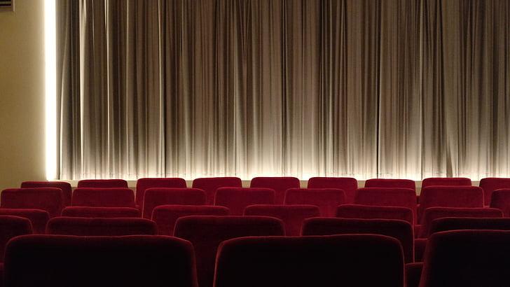 kino, lerret, dampet, gardin, filmen, Tom, sitte