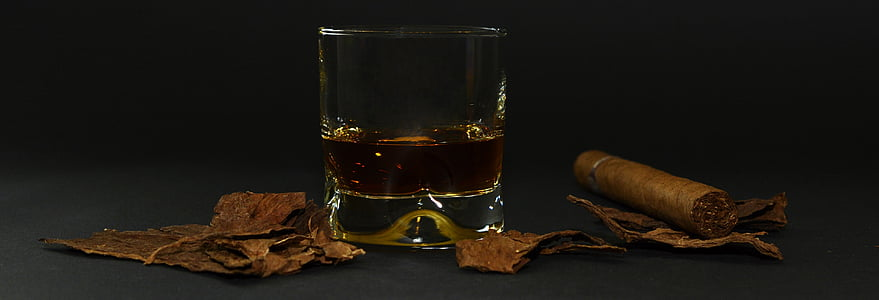 cigar, tobacco leaves, whiskey glass, whisky, drink, alcohol, brandy