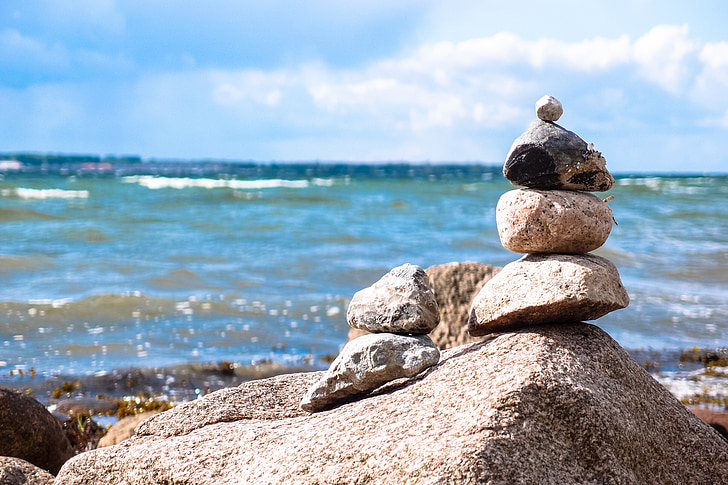 stones, stone tower, beach, sea, relaxation, balance, cairn