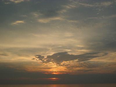 abendstimmung, pôr do sol, nuvens, mar, pôr do sol, sol, arrebol