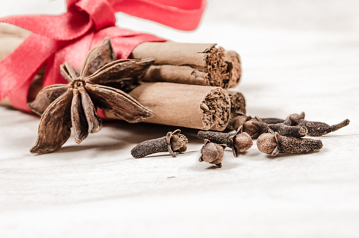 cinnamon, clove, background, aniseed, stick, decoration, badian