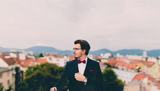 man, wearing, black, formal, coat, tilt, shift