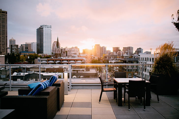 urban, city, buildings, skyline, apartment, rooftop, sun