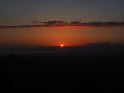 solnedgång, Solar disk, eldklot, solen, aftonstund, Visa, bergen