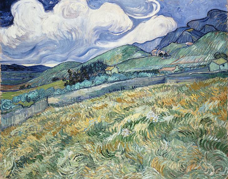 Vincent van gogh, hory, Domů, pole, umění, umělecké, malba