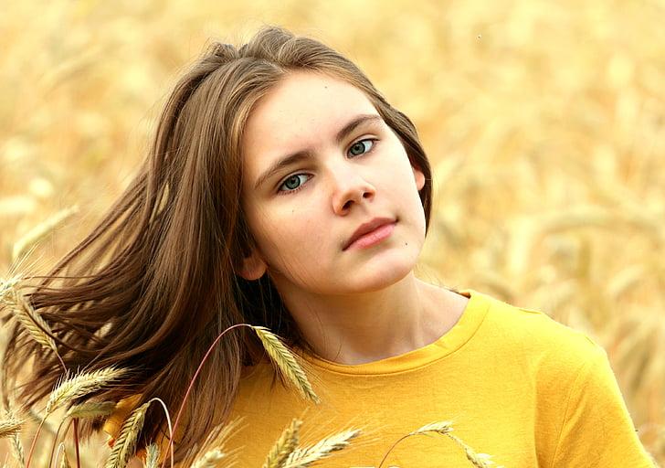 dekle, Las, polje, pšenice, številčnosti, žetev, pogled