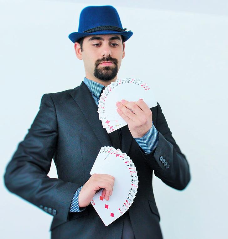trick, deck, letters, magician, magic, attention