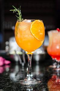 veini, klaas, Baar, oranž, joogid, jää, mahla