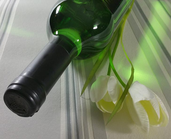 vi, vi blanc, ampolla, tulipes, beguda, beneficiar-se de