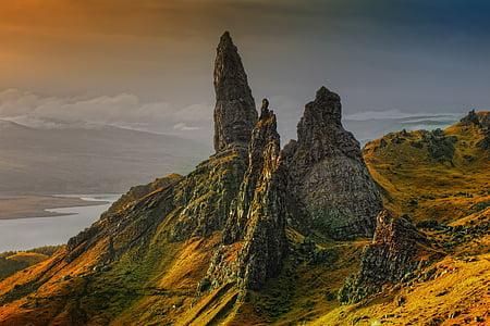 rock, scotland, isle of skye, old man of storr, clouds, sky, landscape