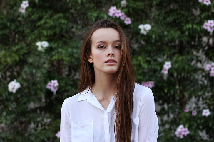 skaists, meitene, portrets, glīts, sieviete, jaunais, tikai viena sieviete