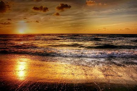 coucher de soleil, mer, Danemark, abendstimmung, coucher de soleil mer, romantique, nuages