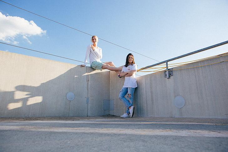 cloud, fashion, modeling, models, people, rooftop, women