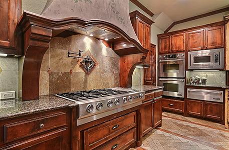 luxury, kitchen, room, stove, interior design, domestic kitchen, domestic room