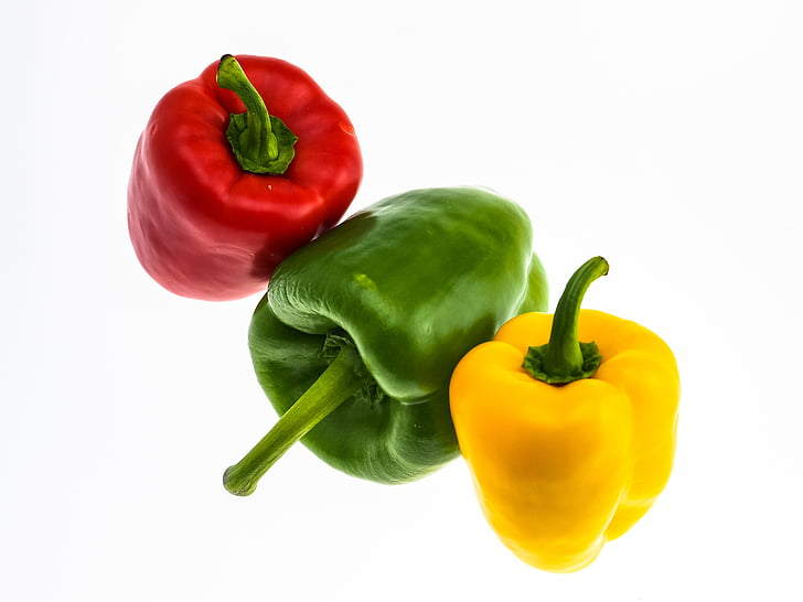 paprika, grönsaker, röd paprika, mat, grön, grön paprika, gul