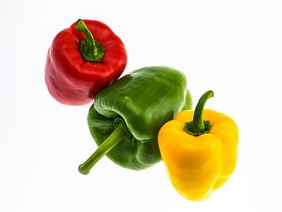 paprika, grøntsager, rød peber, mad, grøn, grøn peber, gul