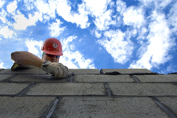 sky, clouds construction, brick layer, man, hardhat, outside, labor