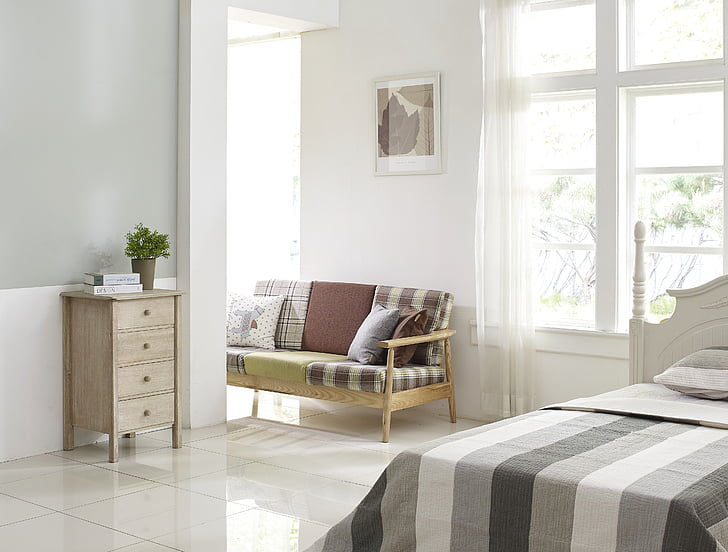 spavaća soba, ladica, krevet, soba, par, stolica, kauč