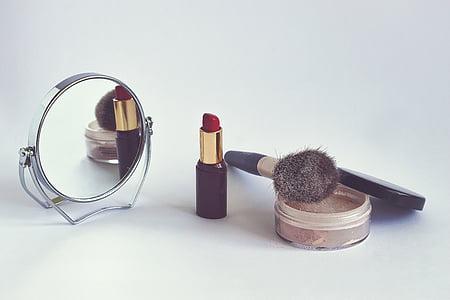 Косметика, порошок, помада, косметичні пензля, дзеркало заднього виду, макіяж, Краса