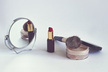 cosmetics, powder, lipstick, cosmetic brush, rearview mirror, makeup, beauty