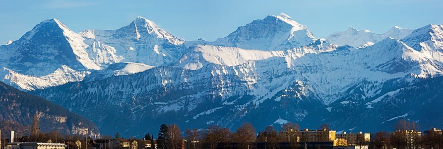 buildings, landscape, mountain range, mountains, trees, winter, mountain