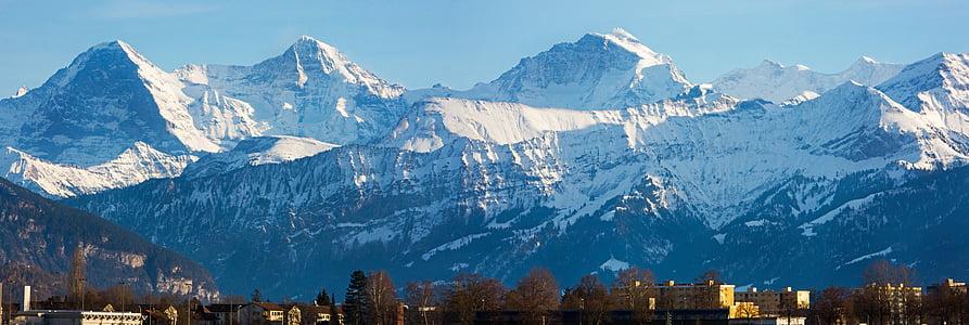 budynki, krajobraz, pasmo górskie, góry, drzewa, zimowe, góry