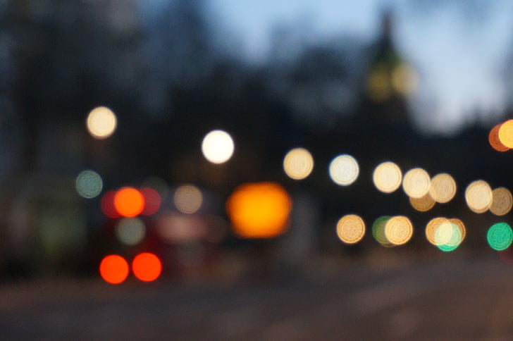 bokeh, City, lys, lanterner, trafiklys, by, nat