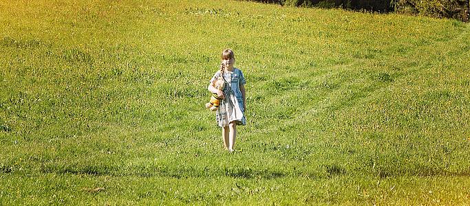 człowieka, dziecko, Dziewczyna, łąka, Miś, się, Natura