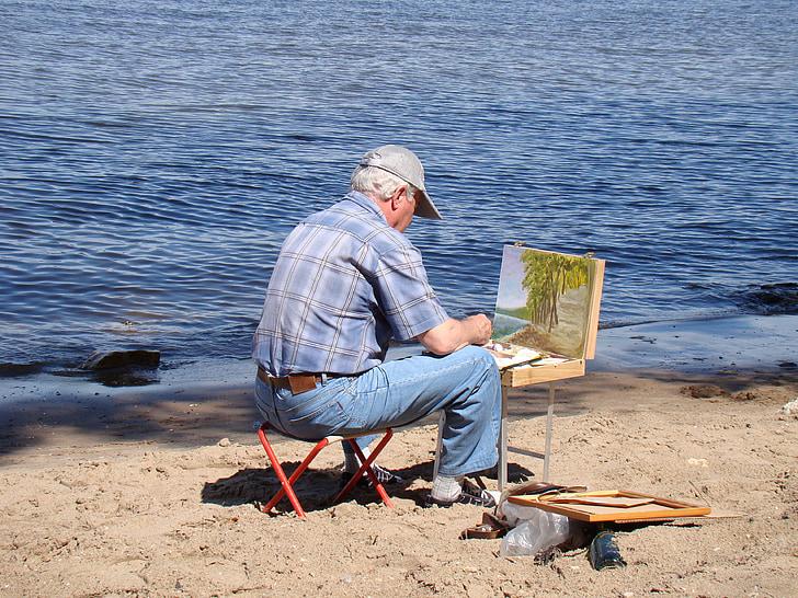 umelec, rieka, Beach, piesok, letné, slnko, Etude