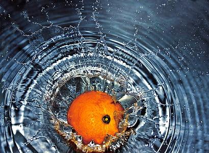 oranžna, ki spadajo, vode, splash, sveže, sadje, brizganjem