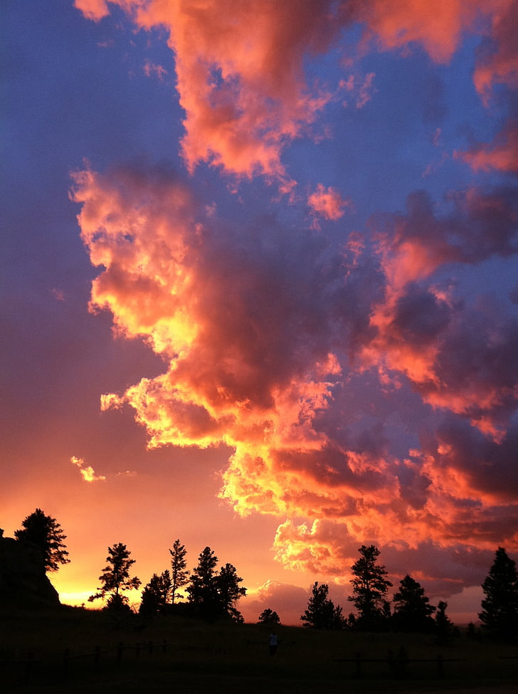posta de sol ennuvolat, posta de sol vertical, cel, nit, capvespre