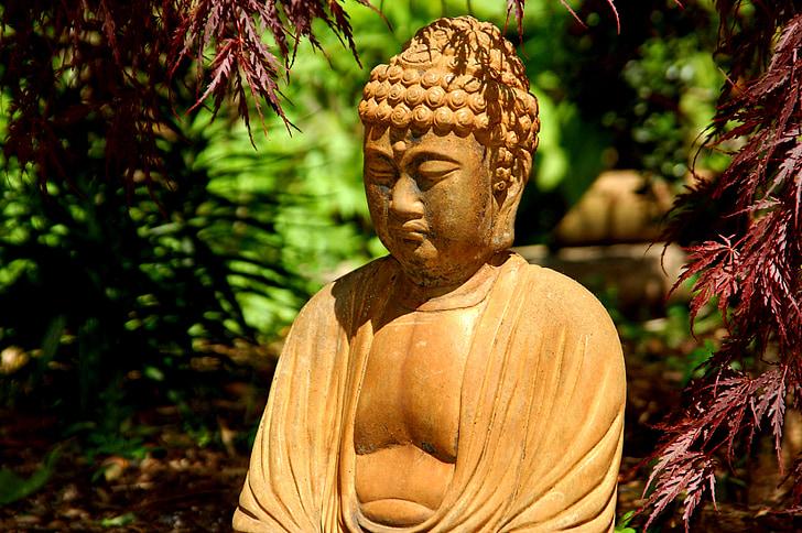 Buddha, Taman, maple Jepang, patung, meditasi, Zen, Buddhisme