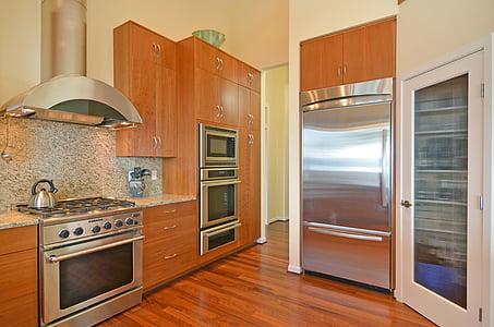 ตู้เย็น, ห้องครัว, ตู้เย็น, ตกแต่งภายใน, การออกแบบ, สแตนเลส, ไม้