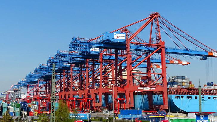 集装箱龙门起重机, 集装箱, 集装箱装卸, 集装箱船, 端口, 货物, 汉堡港
