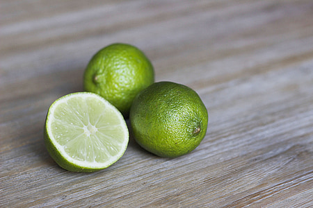 limão, verde, madeira, fatia, citrino, limão, frutas cítricas