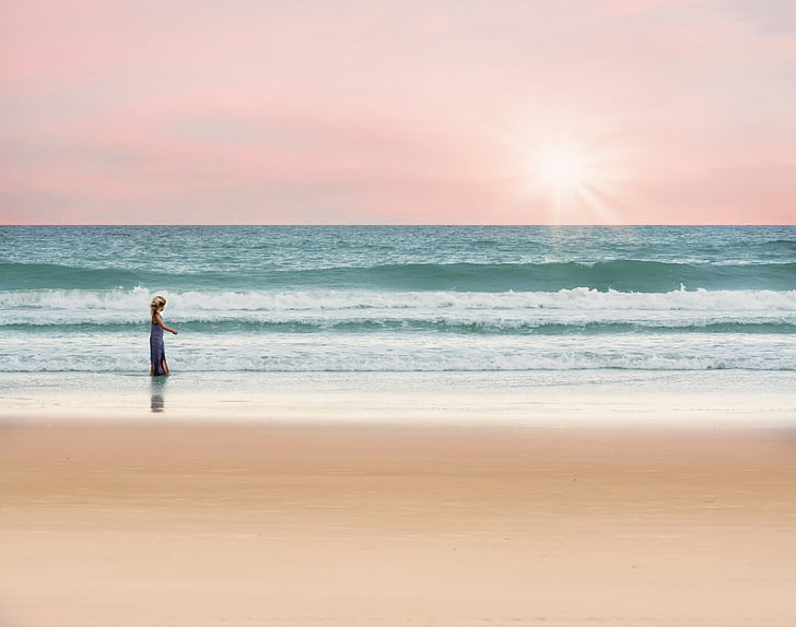 okeāns, meitene, ejot, jūra, vasaras, ūdens, brīvdienas