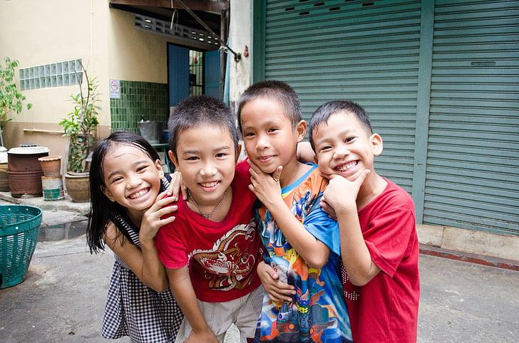 mosoly, gyermek, szórakozás, boldog, fiú, gyerek, arc
