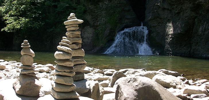 cairn, balance, zen, stacked, stones, rocks, waterfall