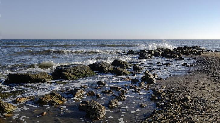 tenger, spray, kék ég, Horizon, tengeri tájkép, hullám