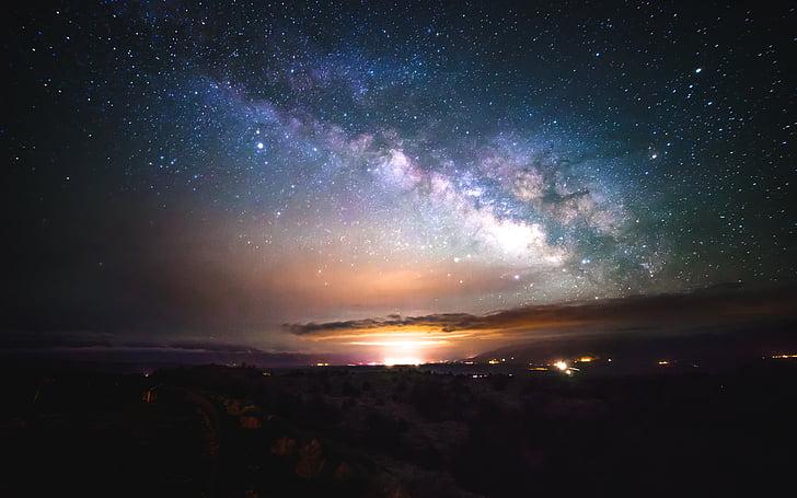 leitoso, caminho, cenário, escuro, à noite, nuvens, céu