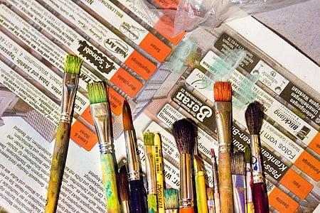 sikat, warna, seni, lukisan, seniman, cat