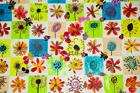children's drawings, painting, coloring, collage