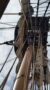 spar, ship, mast, sail, rigging, rope, sea