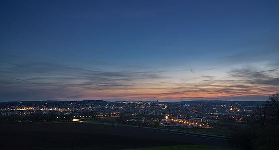 staden, Dawn, skymning, lampor, Sky, soluppgång, solnedgång