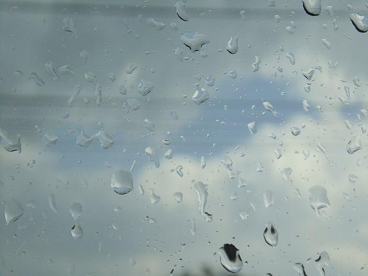 vanddråber, vindue, dråber
