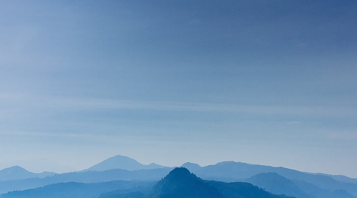 blue, blue mountains, blue sky, hills, mountains, mountain, nature