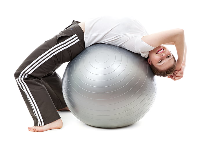 exercise, exercise ball, fitness, healthy, person, therapy, woman